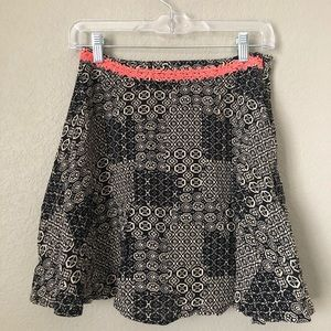 Black Gray Orange Lace Mini Skirt Medium